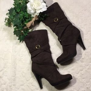 GUC Charlotte Russe Brown Faux Suede Boots, 10